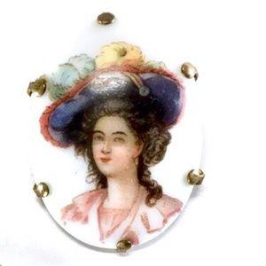 Vintage Painted Porcelain Victorian Woman Brooch